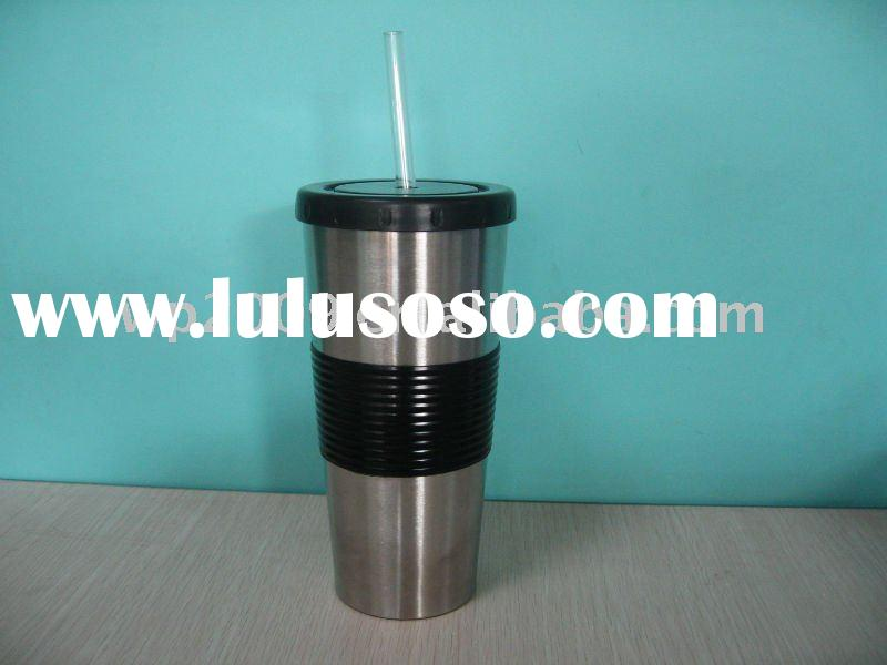 2011 new double wall stainless steel cup with straw