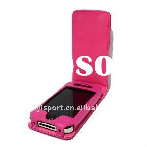 2011 Newest design of iPhone 4 Hot Pink Leather Flip Case