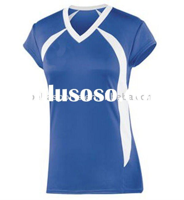 2012 Customized Women 100% Polyester Royal Blue Insert White V Collar Volleyball Jersey