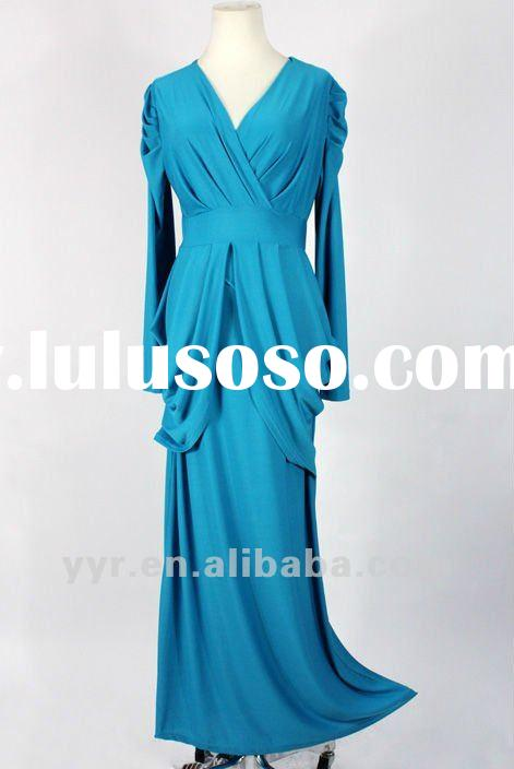 2012 Latest Lady Long Sleeves High Waist Wedding Bridesmaid Maxi Long Dress,YYH-BDF1058#