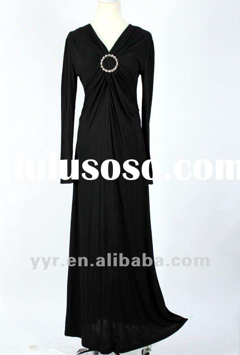 2012 Wholesale Lady Black Slimming High Waist Evening Maxi Dress with Long Sleeves YYH-BDF1051#