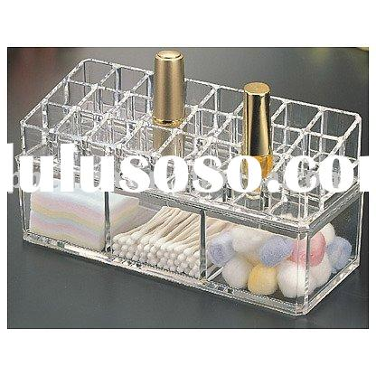 24-Space Acrylic Lipstick Holder with 3-Compartment Box