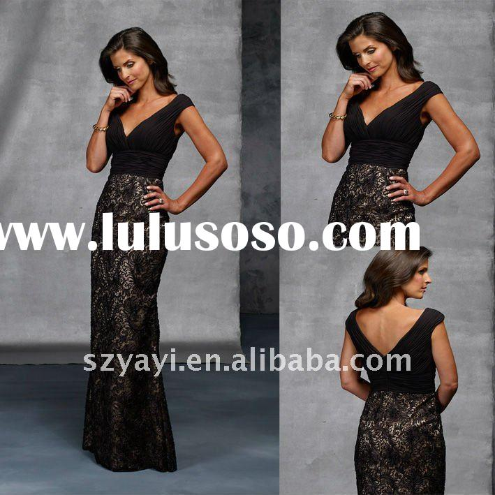 Custom-made Elegant Sheath V-neck Ruffled Chiffon Lace Long Mother of the Bride Dresses Gowns 29394