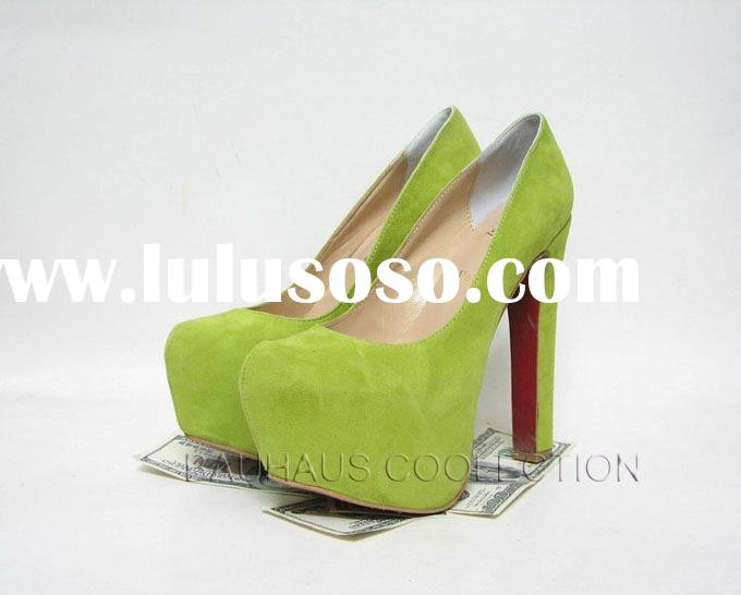 Dress shoes women pumps Lady Green suede Daffodil Platform Pumps Thick heels 2012 new arrival