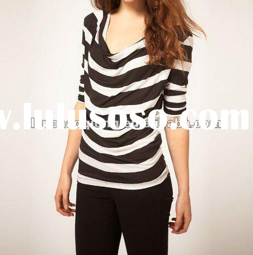 Hottest sell in 2012 New Style Fashion Stripe Women Top