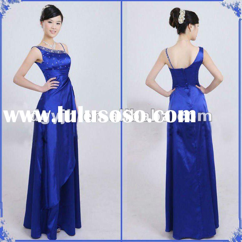 L006 Royal Blue Elegant Beaded Maxi Evening Dress Fashion 2012