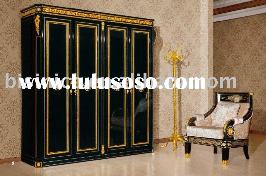 NEW ITEM-Luxury classical black& gold colour Bedroom 4 doors wardrboe,solid wood, hand carved,MO