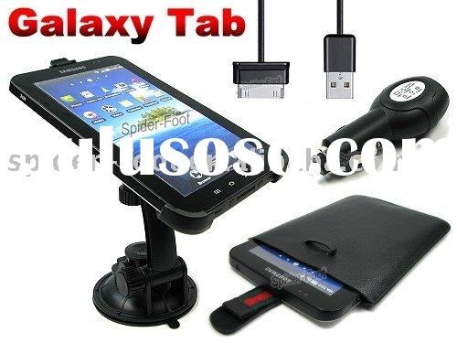 Windshield Mount Holder+USB Car Charger+Leather Case for Samsung Galaxy Tab P1000