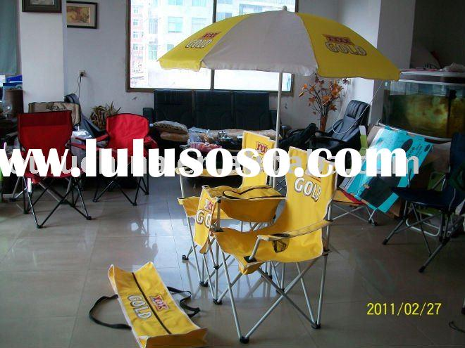 double seat folding beach chair with umbrella and coolbag