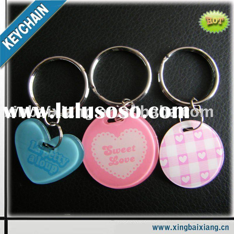 nice-looking fashion promotional hrart printed key chain