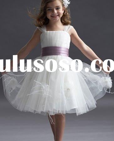 2011 White Tulle and Purple Sash Flower Girl Dress