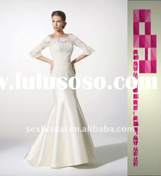 2011 hot sale special beautiful white sabrina satin mermaid trumpet floor-length lace half sleeves w