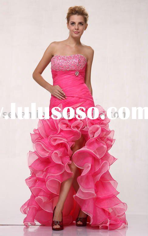 2012 New Pink Strapless Delicately Pleated short front long back prom dresses