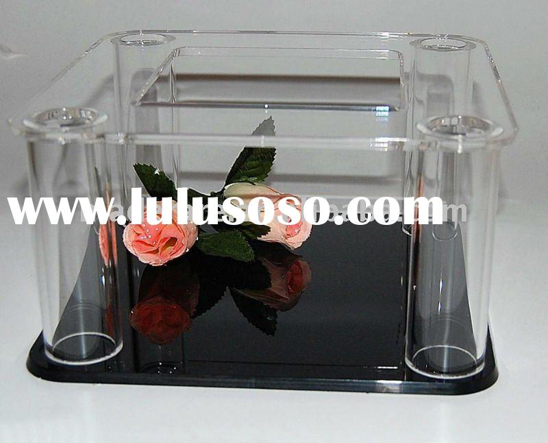 2 layers clear square acrylic cake stand