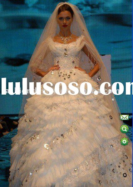 AWD122 2011 gorgeous fully of sparkle sequins and swarovski crystals muslim wedding dress