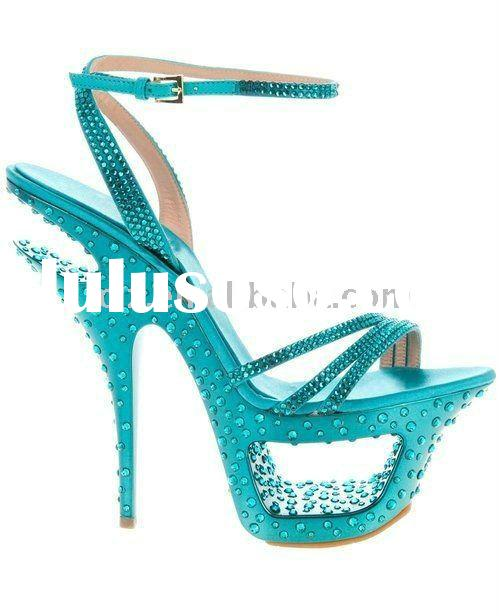 Blue crystal diamond fancy high heeled lady shoes sandals GSL004 free shipping
