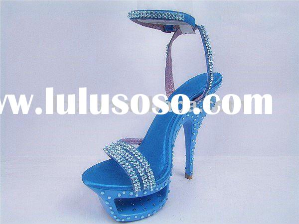 Blue crystal diamond high heeled summer women sandals GSL005 free shipping