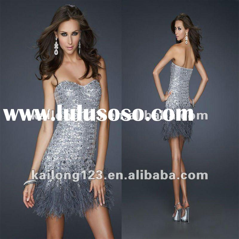 Chic Sweetheart Silver Sequined Feather Dresses Short
