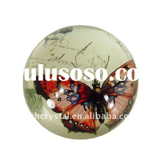 Crystal Dome paperweight with butterfly image MH-F0040