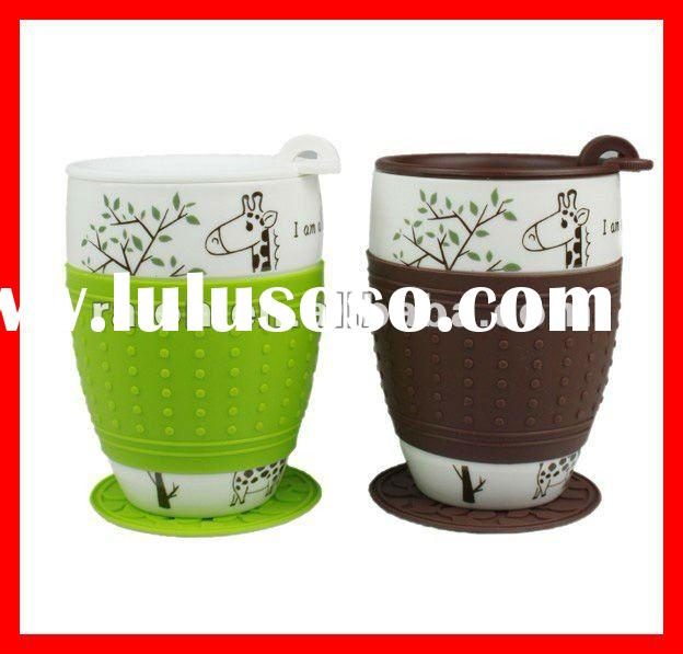 Customize Personal Ceramic Coffee Heatproof Couple Lover Mug Cup with Eco-Silicone Lid Sleeve Straw