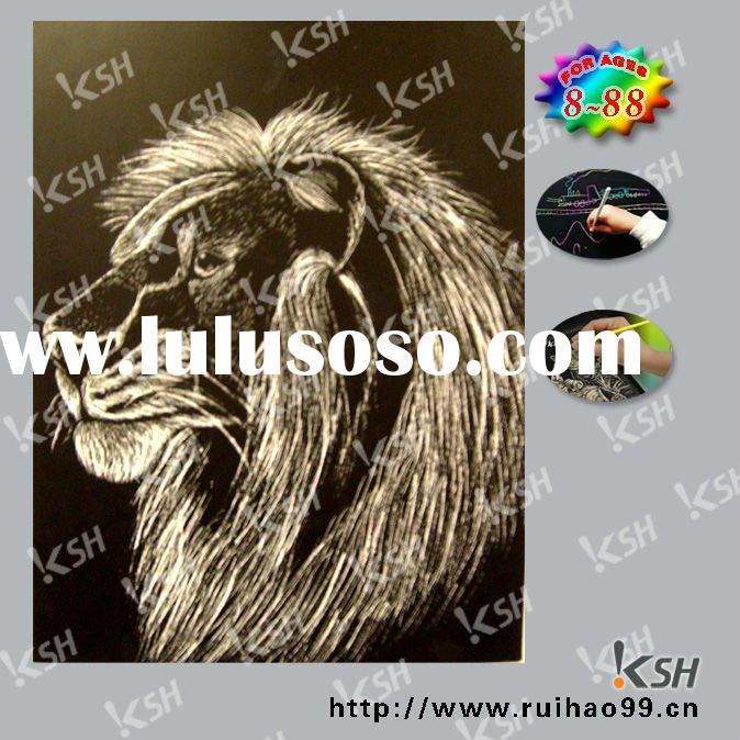 DIY paper craft engraving scratch art Lion