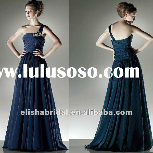 Elegant One Shoulder Navy Blue Chiffon Dresses Evening 2012