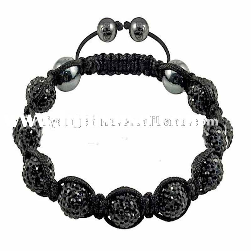 Free shipping wholesale shamballa stretch bracelet disco ball black crystal pave bead