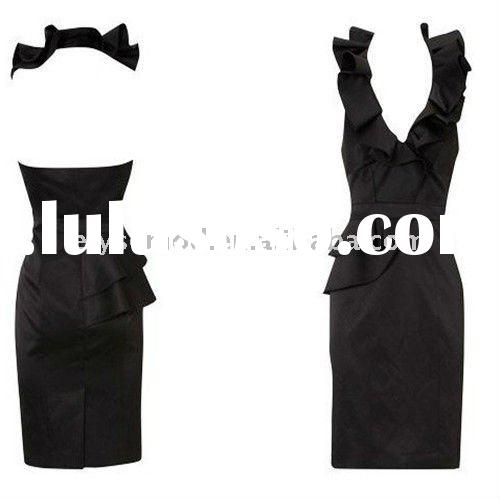 Latest Design Silk Satin Fitted Pencil Dress with Sculptural Frill Neck Black Casual Dresses DK185