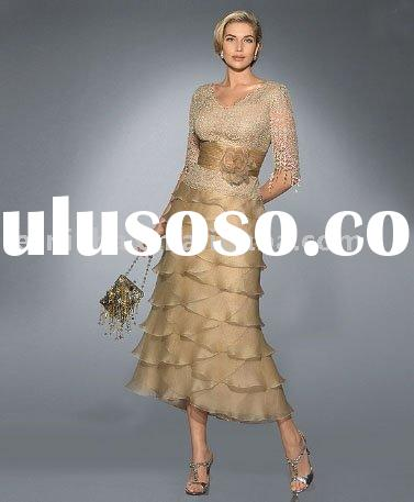 New Style Fashion short sleeve gold color for mother of the bride dress