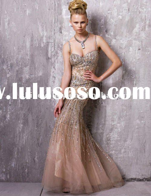 Newest P2086 Spaghetti Straps Sequins Embellished Long Shinny Evening Dress