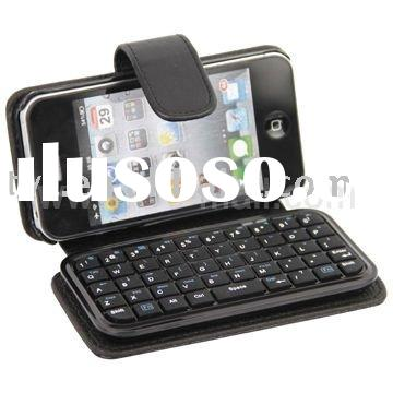 Portable Wireless Mini Bluetooth Keyboard Leather Case for iPhone 4