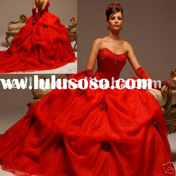 Sell superior quality classic red ball gown wedding dress TY4696