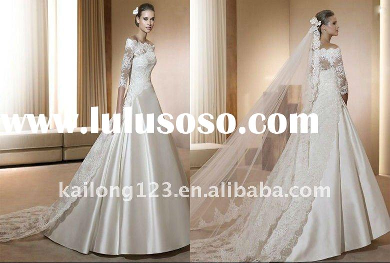 Stylish Long Cap sleeve With Lace Jacket Wedding gown