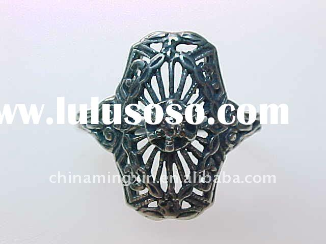 VINTAGE ESTATE STERLING SILVER FILIGREE Fashion RING DIAMOND 3GR SIZE 5.5 NO RESERVE
