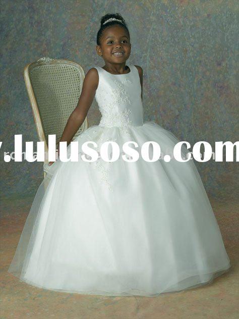 ball gown tulle flower girl dress white