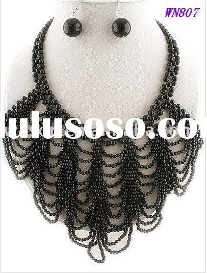 fashion design big black acrylic beads necklace