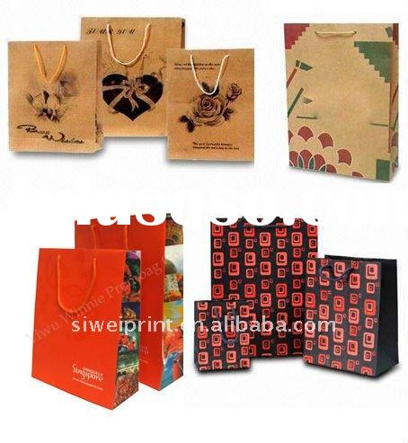 full color aqua paper bags