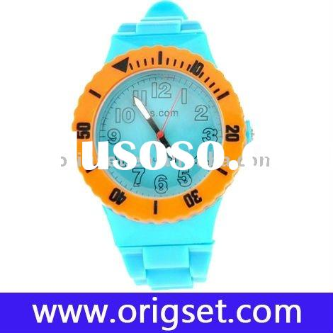 hot sale brand name design plastic and silicon band watch