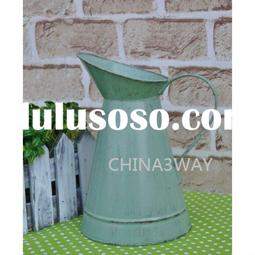 metal pitcher with colour coated and artwork printing for flower