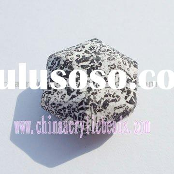 painted black hexagon jewelry beads, acrylic jewelry beads ,black painted acrylic beads