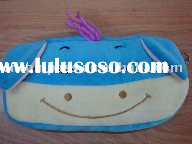 plush animal kids pencil bag,plush pencil case,pencil pouch