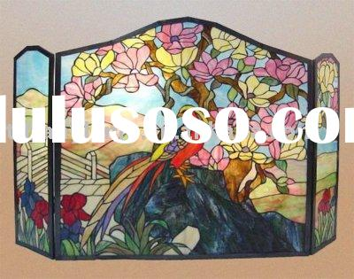 tiffany stained glass fire screen for home decor