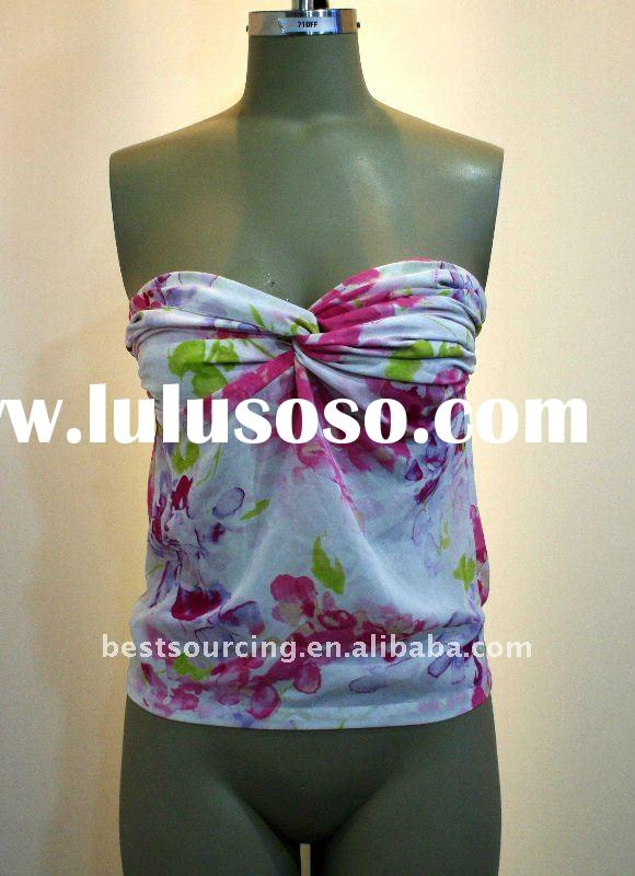 women's summer tank off shoulder sleeveless lady polyester screen printed chiffon top BS-102