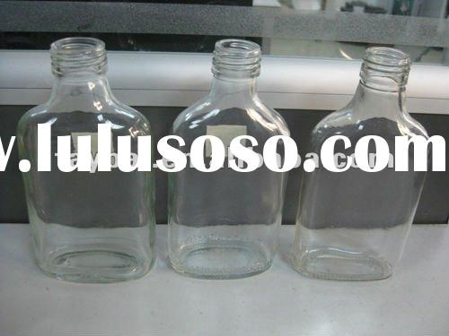 200ml clear flat glass liquor Bottle with lid