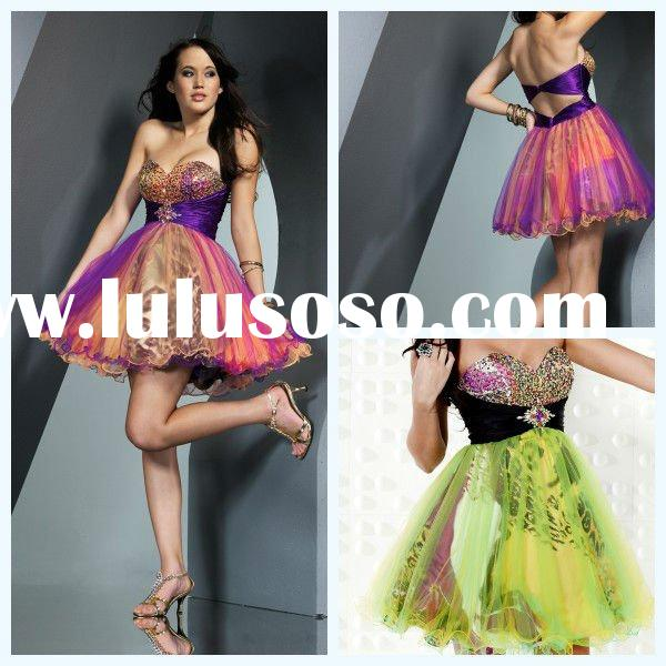 2011 wholesale Sweetheart Ball Gown Beaded Flower Tulle Ruffer Satin Homecoming Christmas Desses Jun