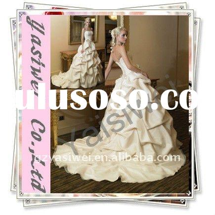 2012 Champagne Princess Ruffle Organza Satin Wedding Dress YSWCOP010