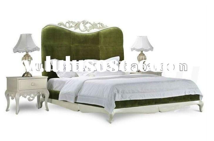 2012 new design hot selling high quality popular classical solid wood king size fabric sleigh bed