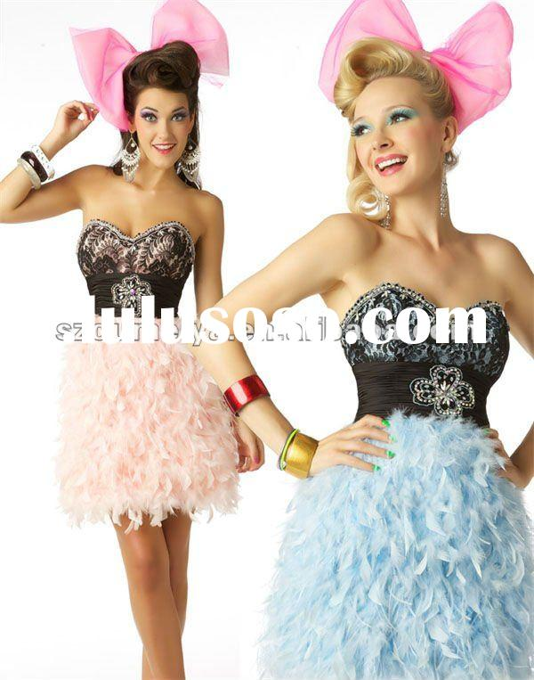 Beaded Sweetheart OEC147 Lace Feather Dresses Short