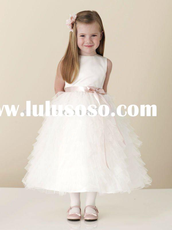 Best Seller Multi-tiered & Ruffled Tulle Full Skirt Flower Girls' Dress