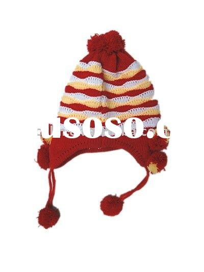 Children's acrylic knitted stripes earflap hat